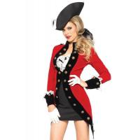 Military Red Coat Womens Sexy Costumes  Halloween Party Dress
