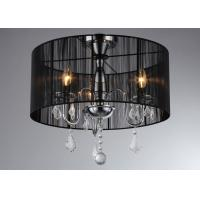 Wholesale Dining Room Modern Chandelier Lighting 3 Lights Black Linen With Crystal from china suppliers