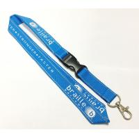Wholesale Polyester Blue Reflective Personalised Lanyards White Logo Safety Buckle Metal Hook from china suppliers