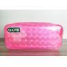 3D Decorative Pattern PVC Cosmetic Bag / Pink Vinyl Travel Organizer Pouch for sale