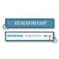 Wholesale Kiss Me Before Flight Aerolineos Argentinas Embroidery Key Chain Key Ring Keychain Key Tag from china suppliers
