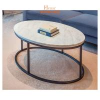 Wholesale OEM Luxury Living Room Furniture , Stainless Steel Base Oval Marble Top Coffee Table from china suppliers