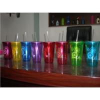 Buy cheap Double wall plastic cup with straw from wholesalers
