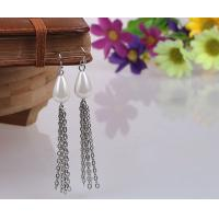 Wholesale Silver Plated Teardrop Pearl Statement Tassels Earrings With Decorative Trims from china suppliers