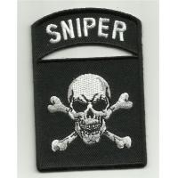 Wholesale Sniper Tab Skull & Crossbones Motorcycle Jacket Vest Biker Morale Military Patch Iron On from china suppliers