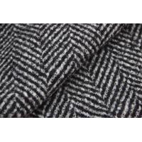 Wholesale Herringbone Jacquard Pattern Knit Wool Fabric Black And White Color from china suppliers