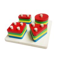 Wholesale Montessori Materials - Four Sharp Block-not round but square tray 24*24cm from china suppliers
