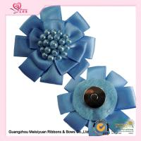 Wholesale A Magnet baby ribbon flowers with Beads , pink ribbon flowers 4 level Color Fastness from china suppliers