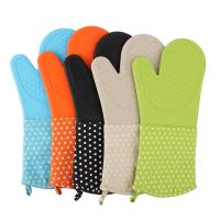 Wholesale Silicone Baking Gloves Dot Printed Heatproof Kitchen Oven Mitts , Kitchen Mitts from china suppliers