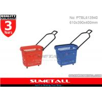 Wholesale Red / Blue 45 Litres Rolling Plastic Shopping Basket With Wheels For Supermarket from china suppliers