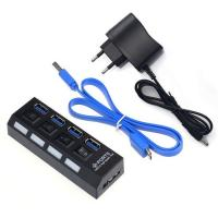 Wholesale usb hub with power adapter 4port USB3.0 HUB 4ports HUB with 3.0 usb port With onOff Switch from china suppliers