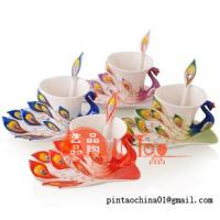 ceramic hand-drawing cup peacock shape
