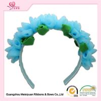 Wholesale Girls Baby Flower Headbands With Special Chiffon Flowers / Blue Chiffon Flowers Hair Band from china suppliers