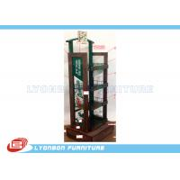 Wholesale 4 - Shelves Solid Wood Soft Drinking Display Stand With Printing Logo / Metal Wire from china suppliers