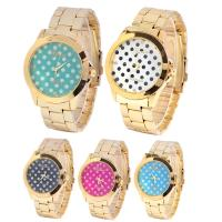 Buy cheap Casual Lady Gold Color Geneva Wave Point Womens Quartz Watches Wateproof Feature from wholesalers