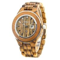 Wholesale Zebra Wood And Steel Watches , Water Resistant Wooden Watches Engraved Japan Movement from china suppliers