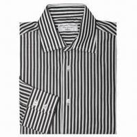 China Men's Fashion Dress Shirt, White and Black Striped on sale