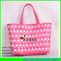Buy cheap LDSL-027 pink &white mixed woven strap shopping bag large pp beach straw tote bag from wholesalers