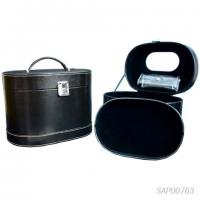 Wholesale Black Leather Jewelry Travel Case / Cosmetic Travel Case Fabric Inside from china suppliers