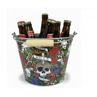 Wholesale CMYK Tin Ice Bucket Tongs , Galvanized Beer Bucket 5L Volume from china suppliers