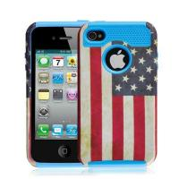 Wholesale Blue Hard Plastic Case & USA Flag TPU Skin Combo Rugged Case For Iphone 4S from china suppliers
