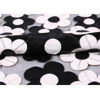 Quality Customization Embroidery PU Mesh Lace Fabric With Black And White Flower for sale