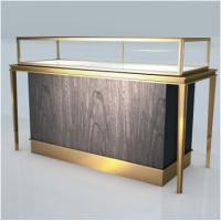 Quality High end good quality Stainless steel Jewelry showcase Display stand Wooden cabinet Golden shop retail fixture for sale