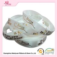 "Wholesale Fashionable White Polyester Hot stamping ribbon 3 / 8"" Logo Printed from china suppliers"