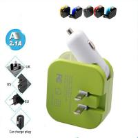 Wholesale 2 In 1 2 Port USB Car Charger Universal Portable Home Wall AC Power Adapter from china suppliers