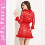 Three Pieces Mature Woman Female Fur Red Sexy Fetish ladies honeymoon nightwear