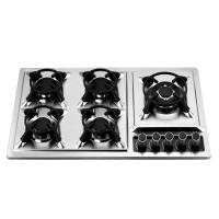 Wholesale Kitchen Prushed Stainless Steel Oven And Hob 5 Burner 86cm 860*510mm from china suppliers