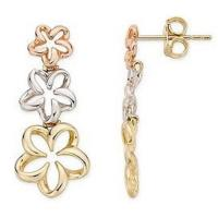Quality Earring(14K White, Pink and Yellow Gold Flower Earrings-EVIE0032) for sale