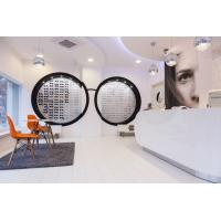 Wholesale Nordic interior design for Optical Shop by pure white display cabinets with clear  glass shelves  and wood reception from china suppliers