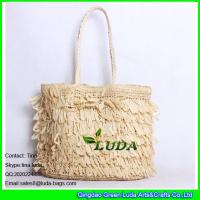 Wholesale LUDA natural paper straw handbags 2015 pleated tote bag from china suppliers
