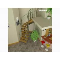 Wholesale Customized Building Curved Staircase with Solid Wood Steps from china suppliers