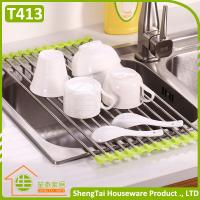 Wholesale Multi Color Fashion Stainless Steel Kitchen Draining Folding Dish Rack from china suppliers