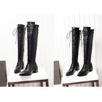 Wholesale Long Lace Up Knee Length Boots Thick Middle Heel Spring Autumn Winter Available from china suppliers