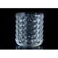 Wholesale Soda Lime glass cylinder candle holders for decor , Exquisite diamond design from china suppliers
