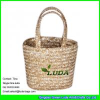 Wholesale LUDA natural small tote bag promotion cosmetic wheat straw bags from china suppliers
