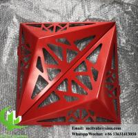 Buy cheap 3D Solid aluminum panel for facade powder coated red color curtain wall from wholesalers