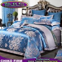 Wholesale 100% Cotton King Size Blue Flowers Jacquard Bedsheet Bedding Sets from china suppliers