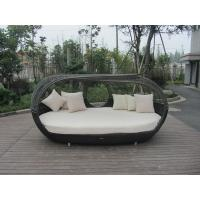 Wholesale UV Resistant Outdoor Rattan Daybed , Dark Brown Wicker Oval Bed from china suppliers