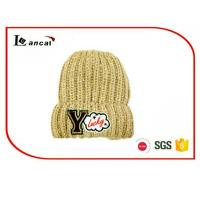 Quality Leisure young  Winter Knit Hats With Patch Embroidered,Add  White Wool for sale