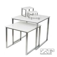 Wholesale Set of 2 Nesting Tables for Floor with Set of 3 Tabletop Display Risers - White from china suppliers