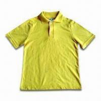 Wholesale Half-sleeve Polo Shirt for Men with Fine Works and Turn-neck, Various Colors are Available from china suppliers