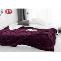 Wholesale Bedroom Waving Design Polyester Fleece Blanket Plush Fleece Bed Quilt Wine Red from china suppliers