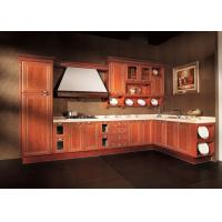 Wholesale L Shaped Apartment Solid Wood Kitchen Cabinets Antique Red With Dtc Hinges from china suppliers