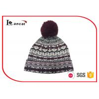 Wholesale No Line Jacquard Cuffed Winter Knit Hats With Pom , Burgundy Beanie Hat from china suppliers