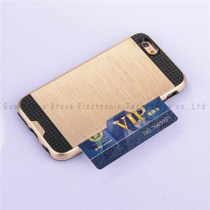 Quality Brushed metal plug-in card holder case for iphone 6,card holder,fashion design,high range,various models for sale