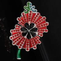 Wholesale fashion New design Sparkle Red Crystal Rhinestone Poppy Brooch high quality from china suppliers